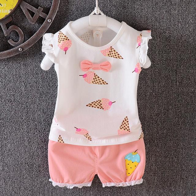 Calor! verão de 2016 roupa da menina terno do bebê recém-nascido Meninas sportswear terno 100% conjuntos de algodão T-shirt + calças Frete grátis 2
