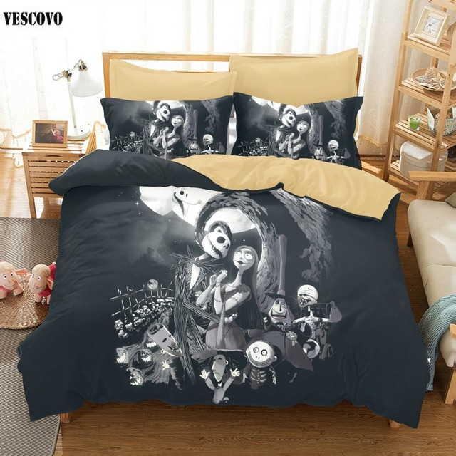 3 pcs cartoon halloween bedding set single to super king size for kids and adult party