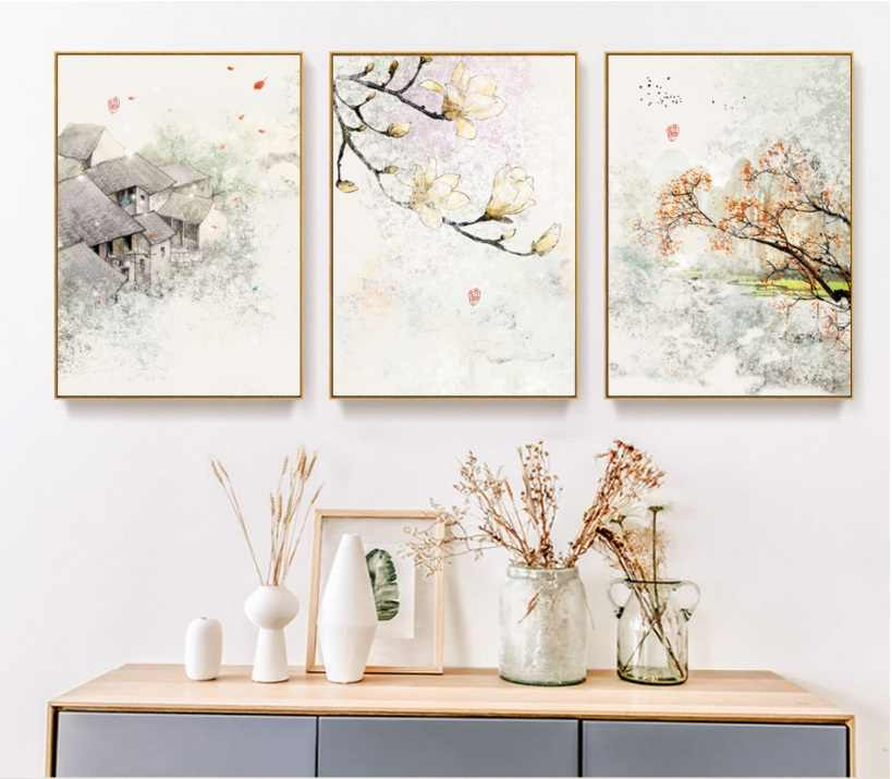 New Chinese Ink Floral Abstraction Wall Art Print Picture Canvas Painting Poster for Living Room No Framed