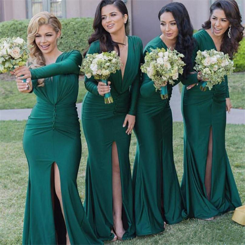 2019 Long Sleeves Dark Green Long   Bridesmaid     Dresses   V Neck Front Split maid of honor   dresses   for wedding guest   dresses   Cheap