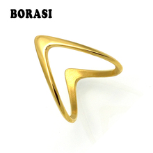 ФОТО mopera fashion jewelry v ring for women gold color stainless steel exquisite shiny polished double v shape knuckle ring 2017
