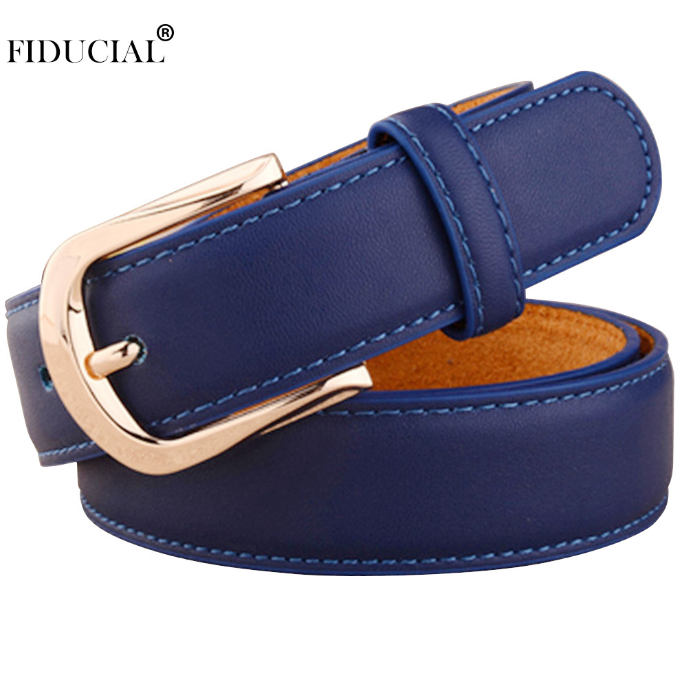 FIDUCIAL Women Belts Luxury Brand Blue Genuine Leather Fashion Women's Pin Buckle Belt 28mm Wide Female Accessories 2019 FCO078