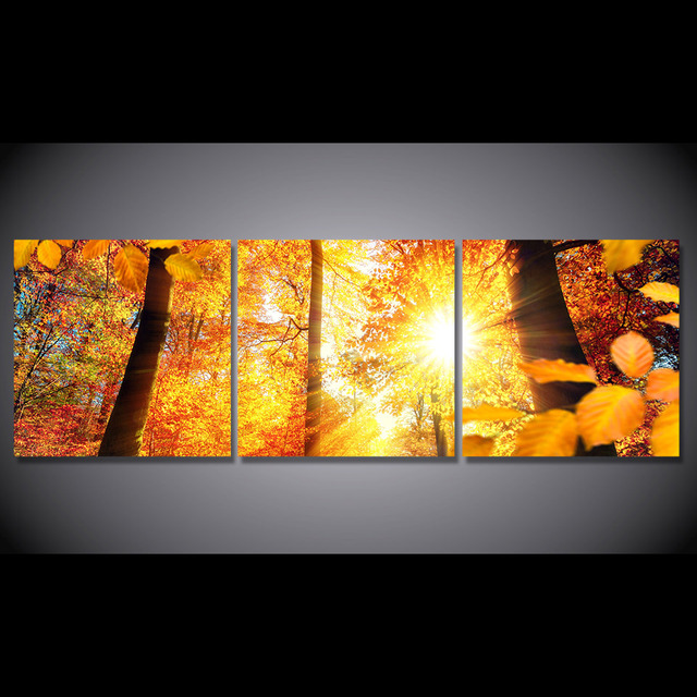 3 Pcs/Set Framed HD Printed Autumn Sunshine Trees Maple Picture Wall ...