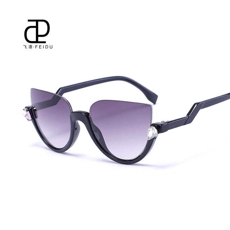 Designer Glasses Half Frame : FEIDU 2016 Luxury Cat Eye Sunglasses Women Brand Designer ...
