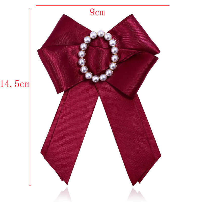 Fashion Elegant Pearl Bowknot Brooch Multi-Layer Collar Flower Bow Tie Pin Clothing Decorations for Wedding Party Necktie Color : Black