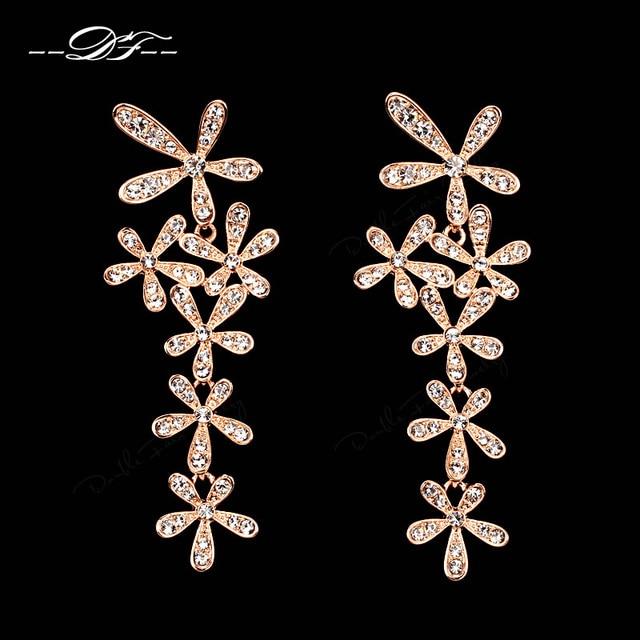 Напыщенные Роскошный Кристалл Свадебные Серьги Стержня Роуз Позолоченные Мода Марка Имитация Ювелирных Камней Для Женщин DFE625