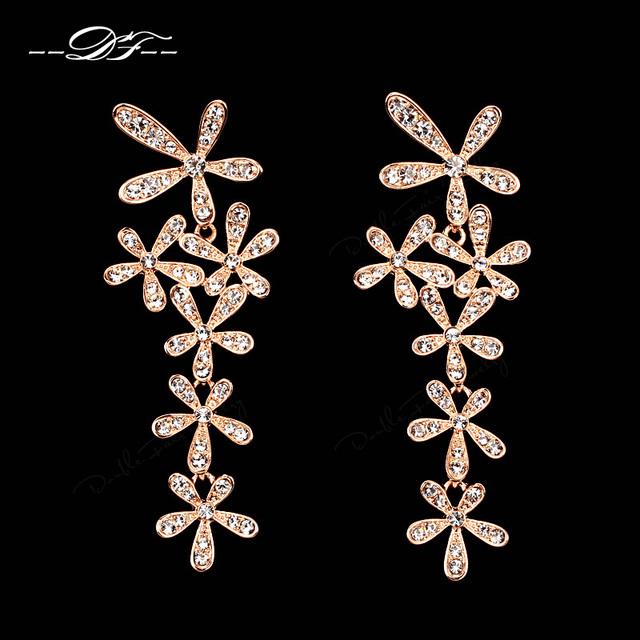 Casamento De Cristal Luxo exagerado Brincos Rose Banhado A Ouro Marca de Moda Imitação Gemstone Para Mulheres DFE625