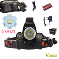 VICMAX RJ-5000 Headlamp Rechargeable 3*XML T6 LED Tactical Flashlight Camping Head Light+2x18650 Battery+Car/Ac Charger