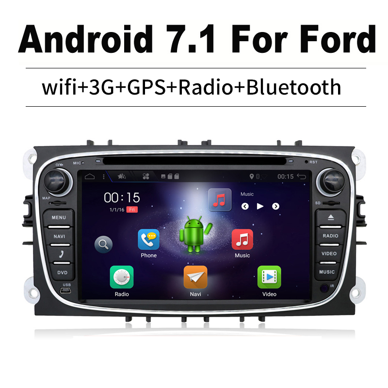 2 din Android 7.1 for ford focus 2 DVD Player GPS Navigation Wifi Radio Subwoofer DAB work with Convers+