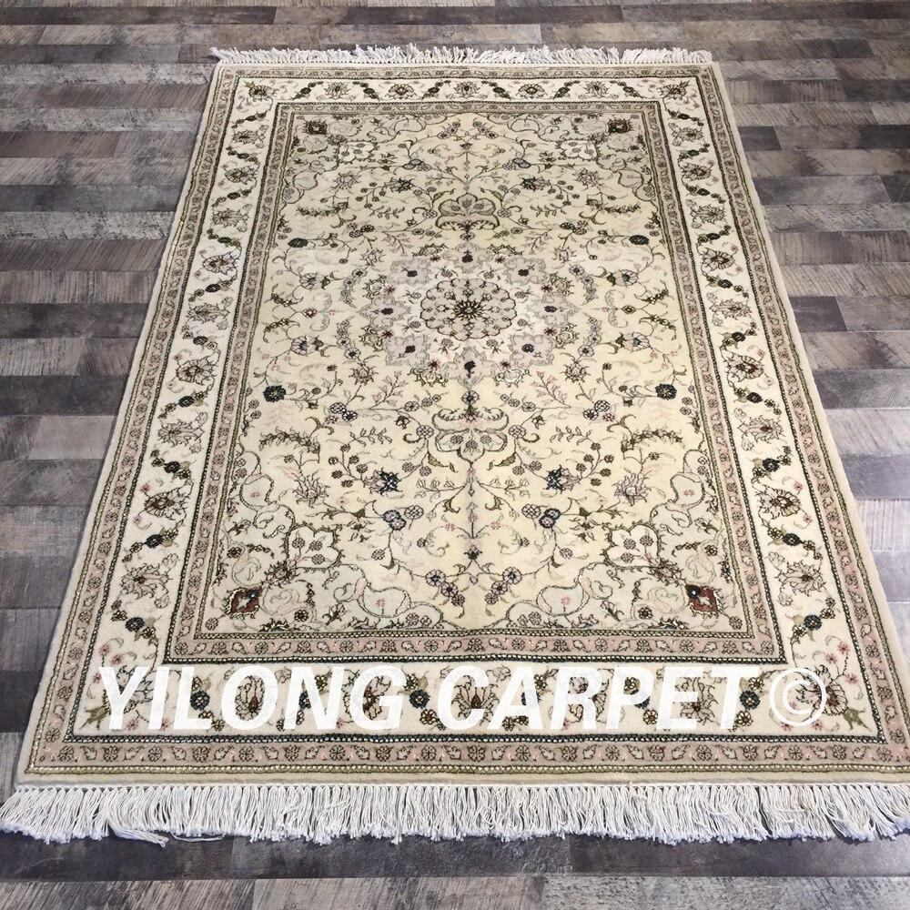 Yilong 4'x6 'fait à la main couleur beige décoration de la maison floral laine soie tapis belgique laine tapis (WY2084S4x6)