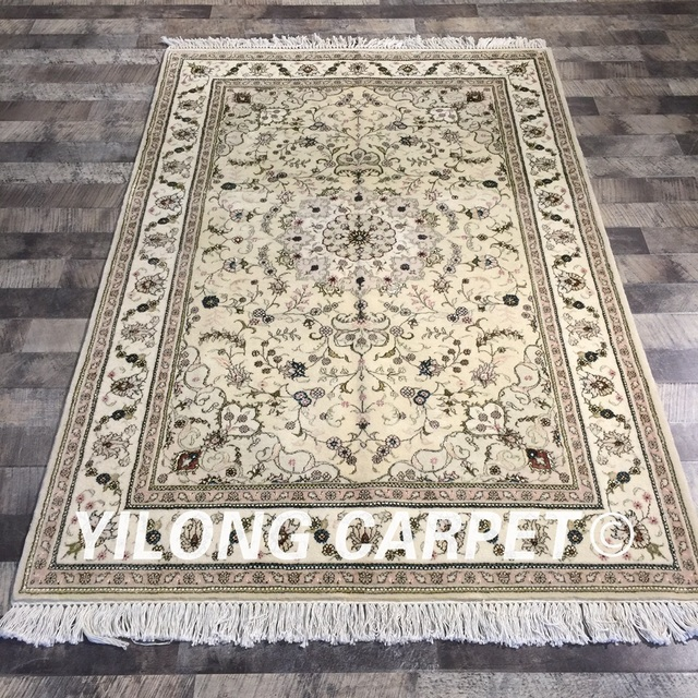 Yilong 4 X6 Hand Made Beige Farbe Dekoration Floral Wolle Seide