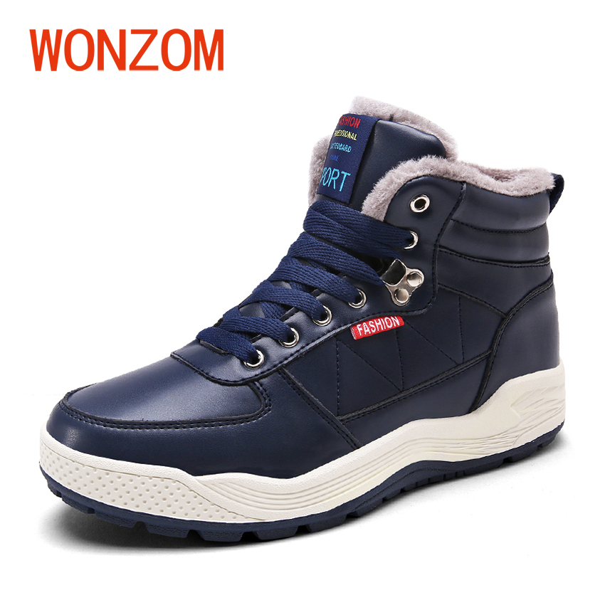 WONZOM 2017 Winter Fashion Warm Fur Ankle Snow Shoes Men Waterproof Leather Snow Boots Antiskid Men Boots New Winter Shoes Gift new men winter boots plush genuine leather men cowboy waterproof ankle shoes men snow boots warm waterproof rubber men boots page 10