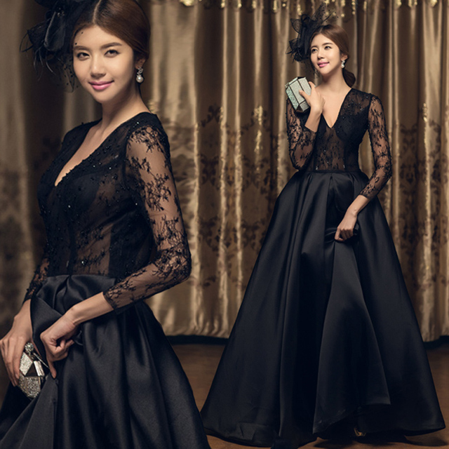 Gothic Black Long Sleeves Lace Satin Sexy Wedding Dresses With Color V Neck See Through Floor