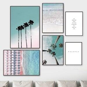 Image 2 - Cocotero palmera Rosa playa paraguas de mar cuadro sobre lienzo para pared cartel nórdico Decoración Para sala de estar sin marco
