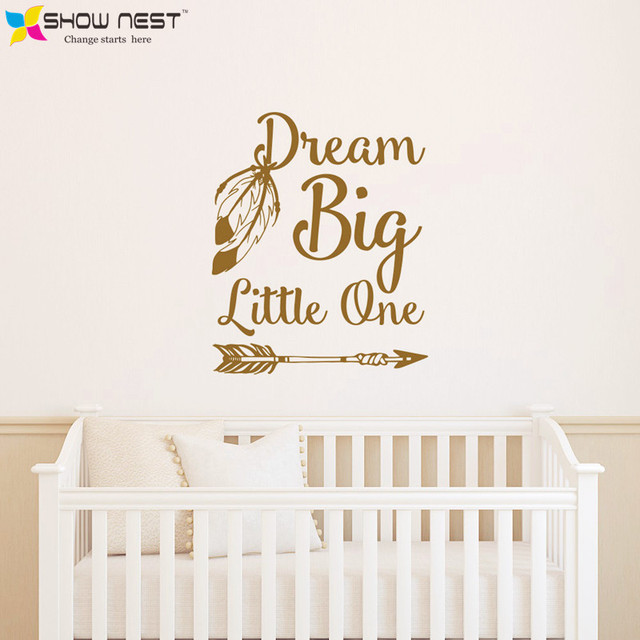 dream big little one quotes wall stickers home decor baby nursery bedroom wall decal art - Home Decor Quotes