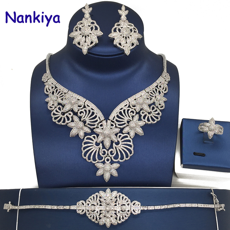 Nankiya Luxury Large Bridal Jewelry 4pcs Sets Five Stars Shape Micro Pave Zirconia Jewelry Set NG Women Wedding Party NC9012 j ghee vocaloid hatsune miku with electric guitar greatest idol ver 1 8 scale painted pvc action figure collectible model toy