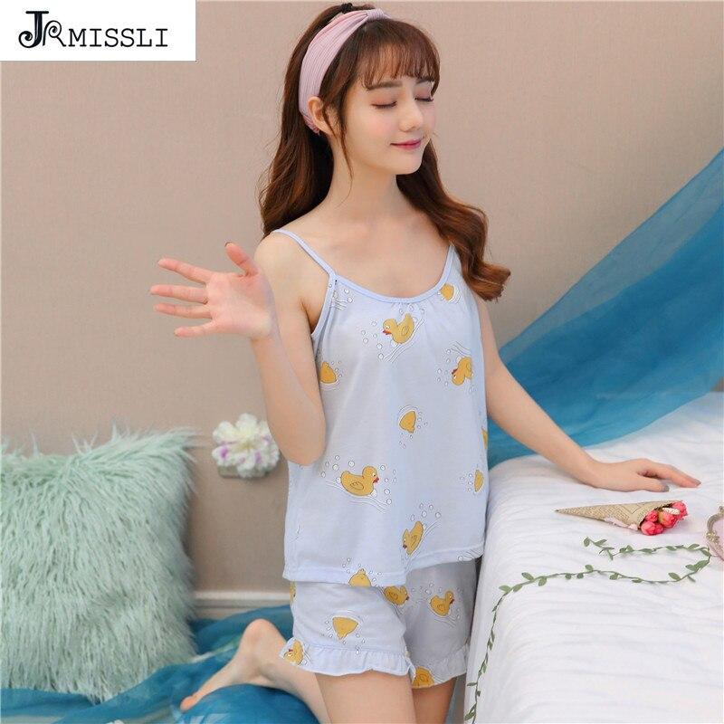 e8bd2004392b6 JRMISSLI для женщин 100% хлопковые пижамы милый мультфильм пижамы нижнее  бельё для девочек комплект ночного