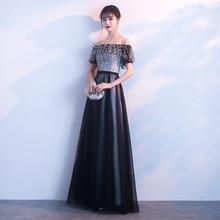 Black Off Shoulder Women Chiffon Banquet Gowns Floor Length Slim Noble Elegant Evening Party Dress Floral Sexy Vestidos S-XXL