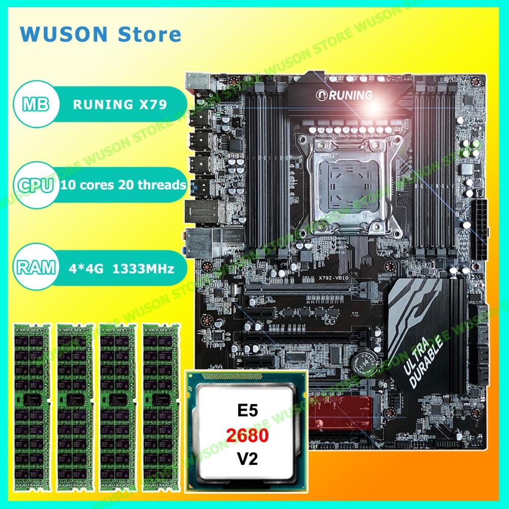 купить New!!Runing Super ATX X79 LGA2011 motherboard 8 DDR3 DIMM slots max 8*16G memory Xeon E5 2680 V2 CPU 16G(4*4G)1333MHz DDR3 RECC по цене 28901.66 рублей