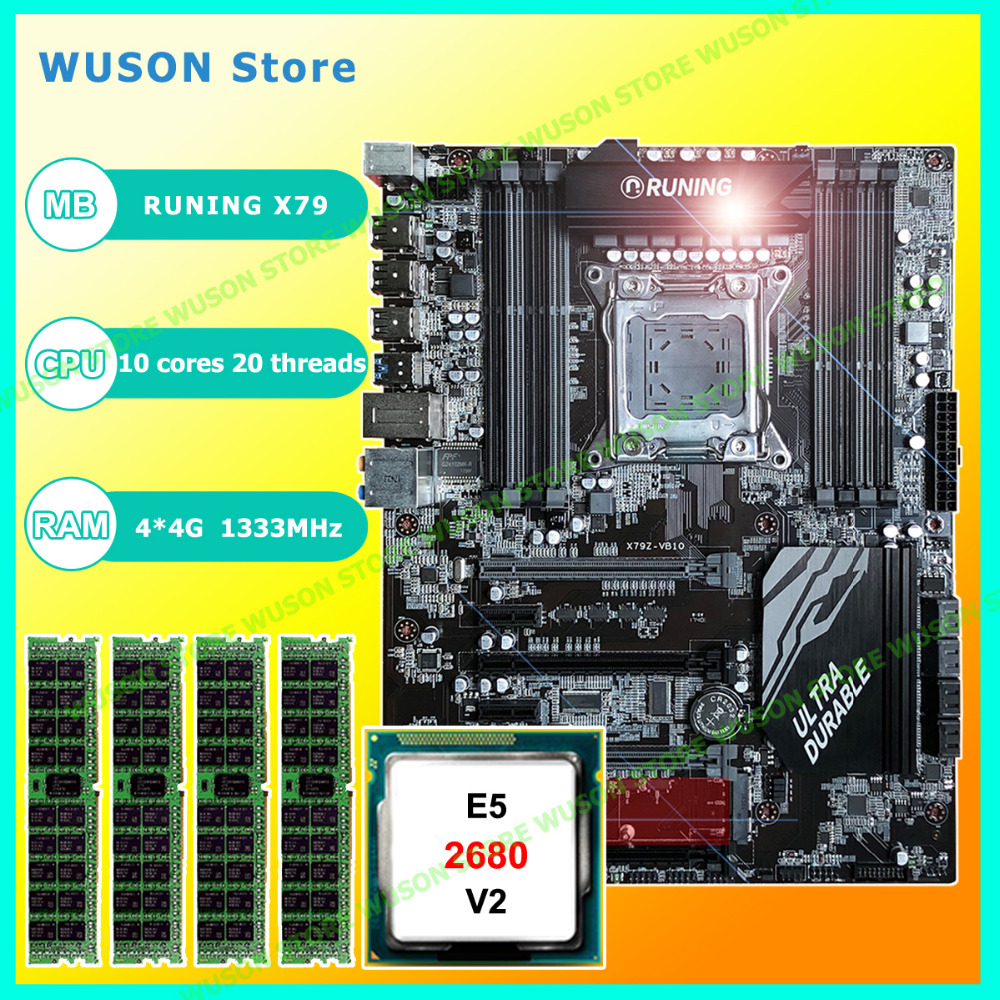 Nouveau!! Runing Super ATX X79 LGA2011 carte mère 8 DDR3 DIMM slots max 8*16G mémoire Xeon E5 2680 V2 CPU 16G (4*4G) 1333 MHz DDR3 RECC