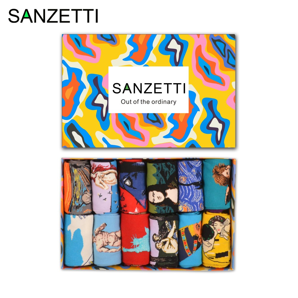 SANZETTI 12 pairs/lot Gift Box Novelty Men's Cotton Colorful   Socks   Retro Oil Panting Casual Funny Dress   Socks   Cool Streetwear