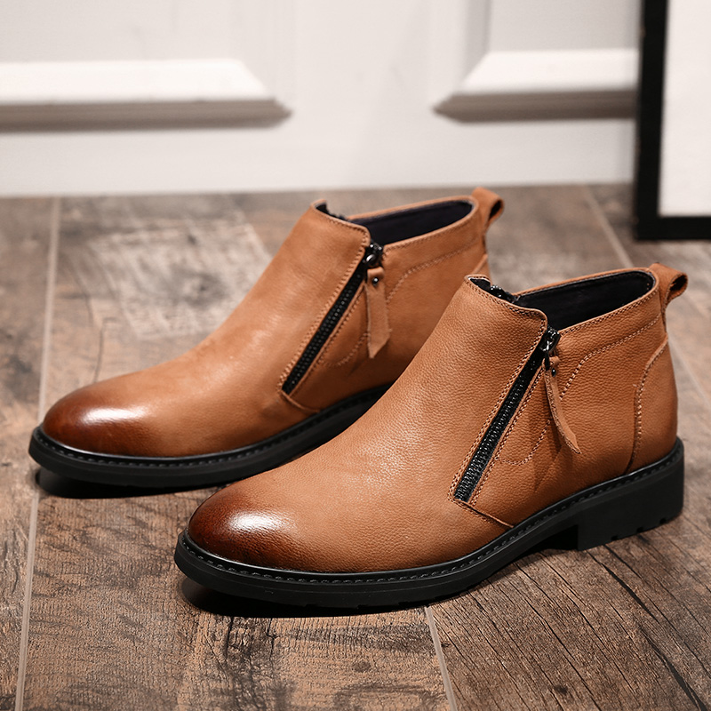 MYCOLEN New Fashion Leather Mens Winter Shoes Side Zipper Leather Boots High Quality Sewing Shoes Men Scarpe Uomo Invernali