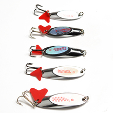 Upgraded Spoon Fishing Lure 10/14/18/21/28g Spoon Lures with Red Tail Treble Hook Metal Lure for Fishing Hard Bait Fly Fishing