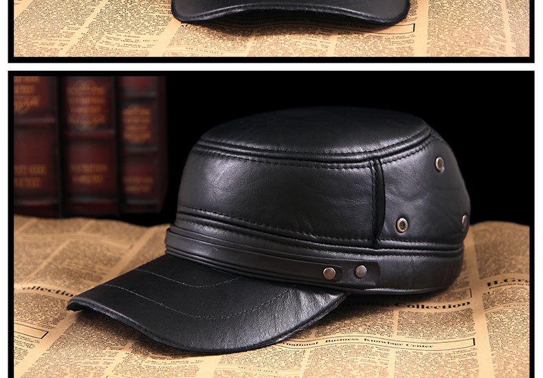 Men\'s Leather Hat - warm winter baseball cap - Korean fashion outdoor peaked cap _15