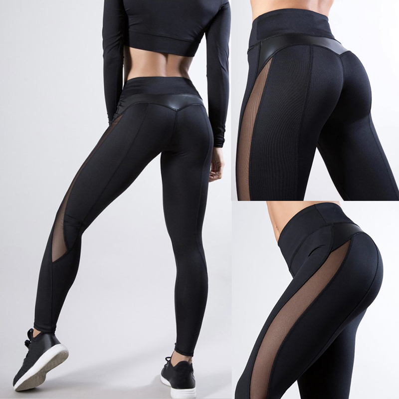2019 New Women Yoga Pants Fitness Gym Sports Leggings Running Tight Mesh Yoga Leggings Seamless Compression Training Pants Femme