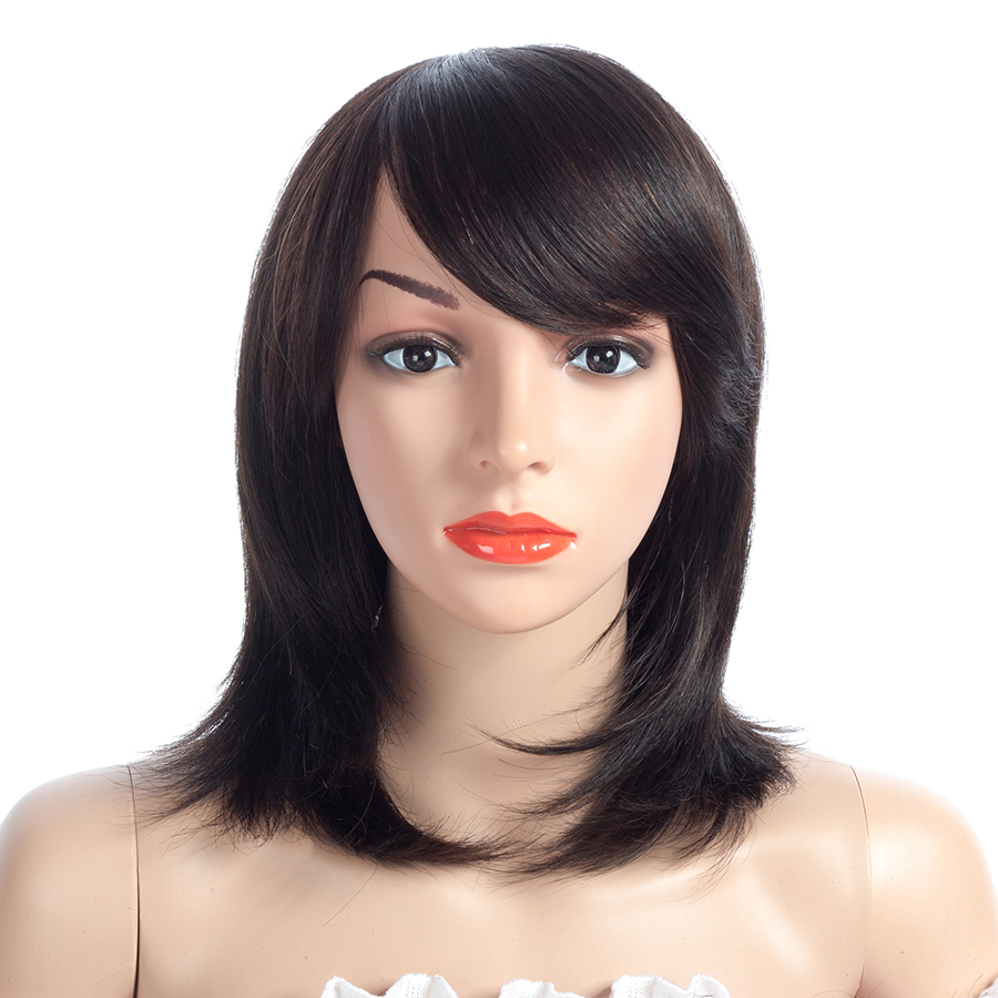 NAYOO парики человеческих волос с челкой 10 дюймов не кружева прямые человеческие волосы короткий парик натуральный Цвет 10 дюймов 100% волосы remy