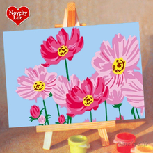DIY Small Frameless Picture Painting By Numbers Pink Flowers Children Home Decor Canvas Oil Painitngs Kids Bed Room Living Wall