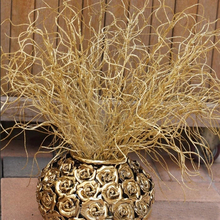 46CM Long Artificial Plant Simulation Gilded Grass Christmas Ornaments Glitter Bling Artificial Flowers for Home Decoration