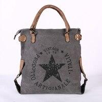 Neue mode leinwand frauen schulter tasche Große kapazität casual handtaschen für damen Pentagramm druck vintage stil frauen tasche