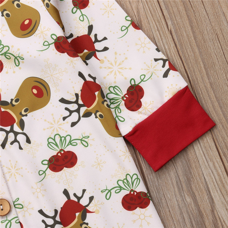 CANIS Newborn Baby Boy Girl Christmas Romper Pajamas Deer print Xmas print clothes Rompers Sleepwear Girls Boys Outfit Romper