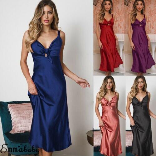 2019 New Hot Summer Fashion Girls Female Lady Womens Night Dress Silk Satin Sleepwear Long Robes Nightwear Gown