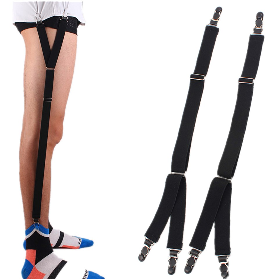 HUOBAO Mens Fashion Shirt Garters Y Shape  Adjustable Elastic Shirt Holders Straps Sock Non-slip Clamps Leg Suspenders