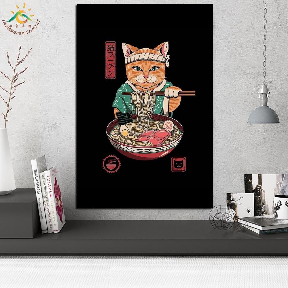дешево!  Кошка рамен волна старинные плакаты и принты прокрутки живопись на холсте настенные панно рама
