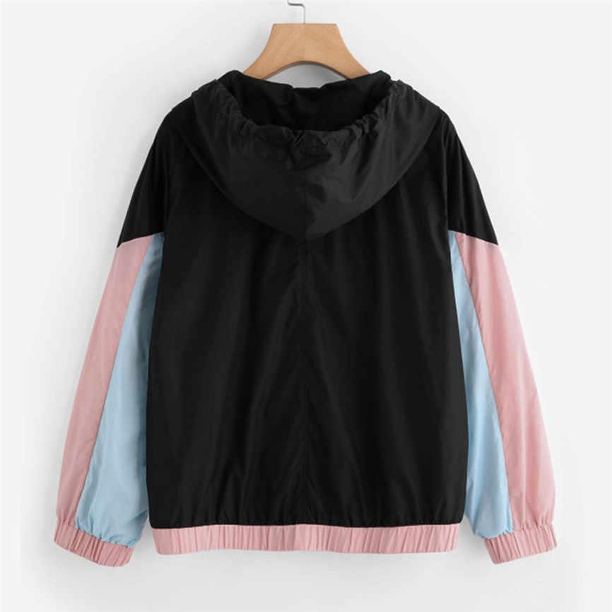 Ветровка, пальто для женщин, длинный рукав, пэчворк, с капюшоном, на молнии, карманы, повседневное спортивное пальто, верхняя одежда, короткая куртка-бомбер