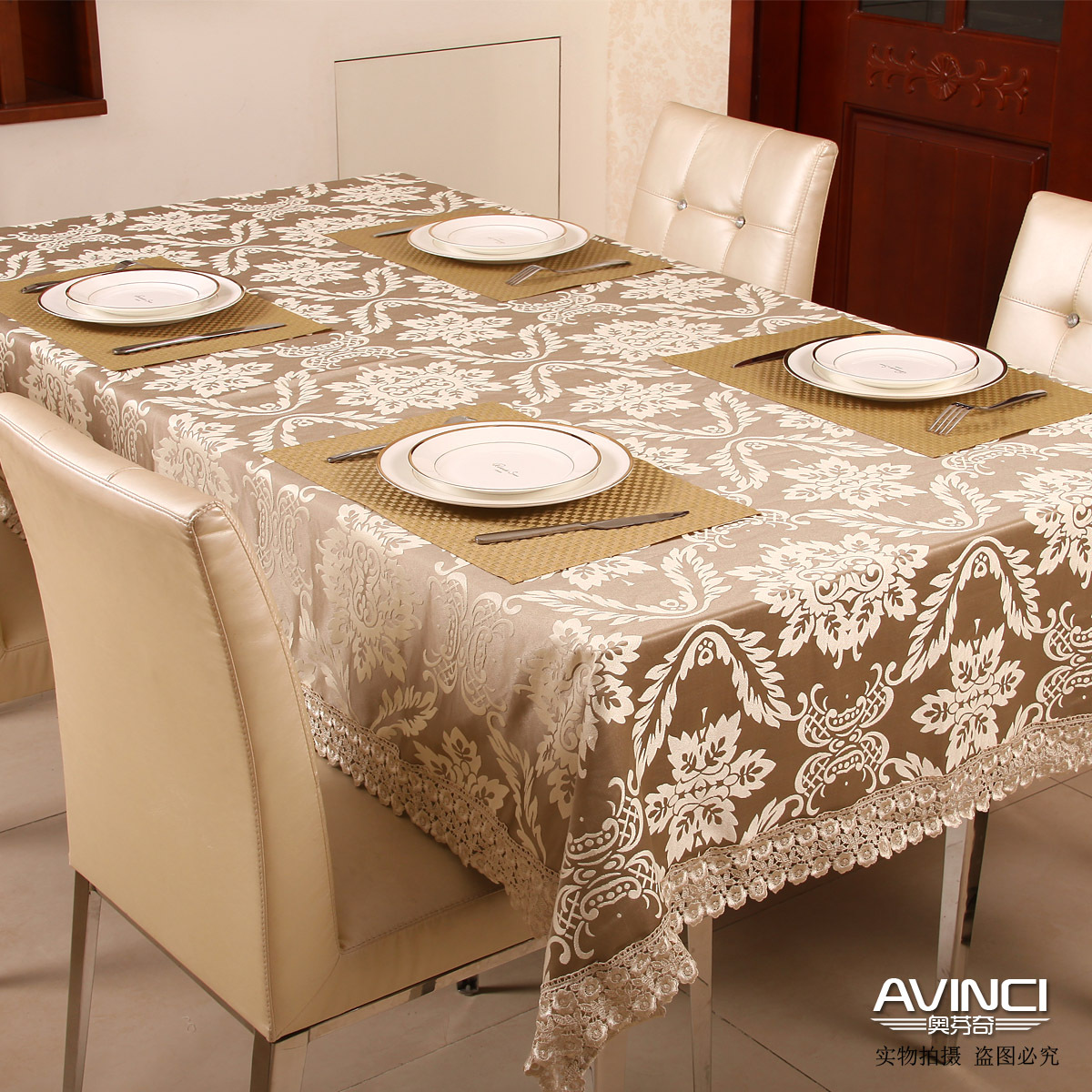Free Shipping Fashion Elegant Fabric Of Luxury Dining Table