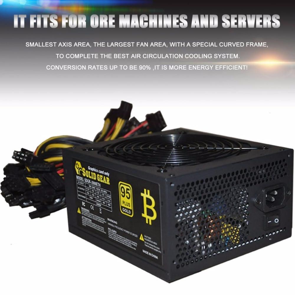 Высокая эффективность 2000 Вт Макс сервер PSU питание горная машина питание для ATX для золото добыча поддержка до 8 GPU