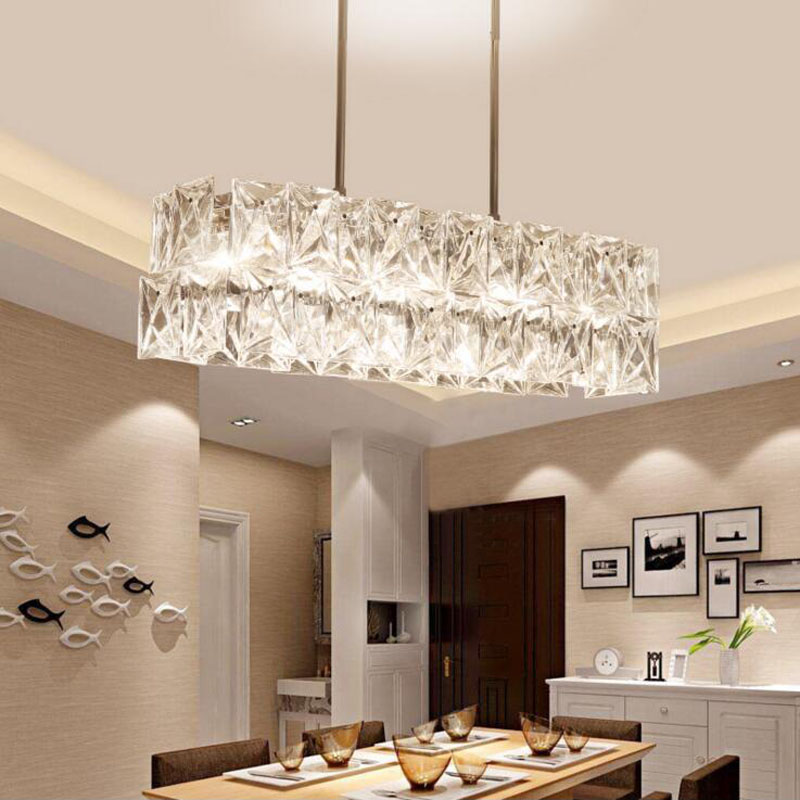 US 621 0 55 OFF Long Restaurant Chandeliers Creative Wrought Iron Crystal Bar Lighting Modern Minimalist Living Room Dining Table Lamps LED Lamp In