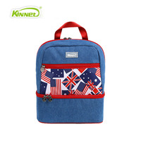 Jean M Word Flag Cowboy Double Insulation Shoulder Bag Lunch Bag Women Warm Bag Food Picnic