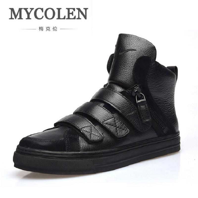 MYCOLEN New Spring Autumn Men Black Casual Shoes Men High Tops Fashion Hip Hop Shoes Zapatos De Hombre Winter Male Scarpe new hot sales mens jeans slim straight high quality jeans men pants hip hop biker punk rap jeans men spring skinny pants men