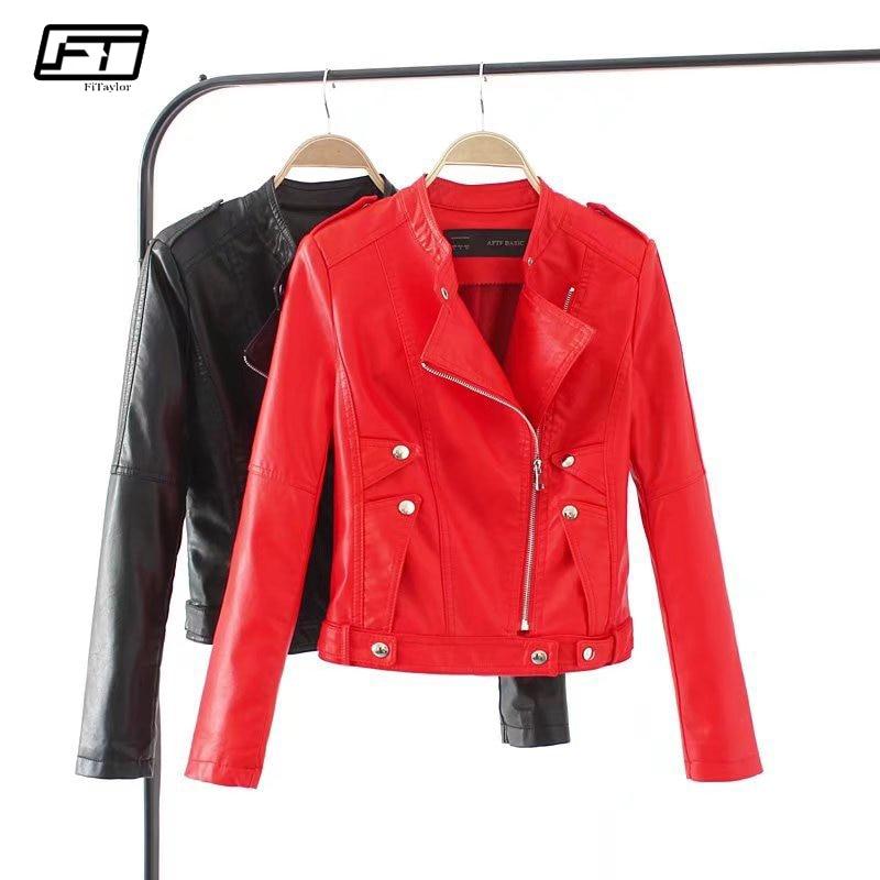 Fitaylor 2018 Spring Autumn Bomber Motorcycle Jacket Women Clothing Caot Mandarin Collar Zipper Pu Faux Leather Jacket Female