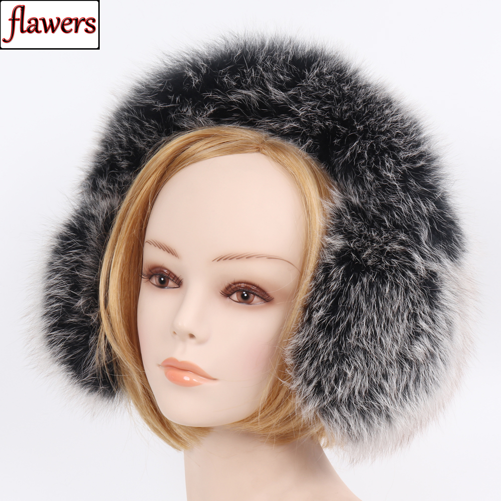 New Fashion Women Fluffy 100% Genuine Real Fox Fur Earmuffs Winter Warm Full Leather Fox Fur Ear Muffs Luxury Fox Fur Earflaps