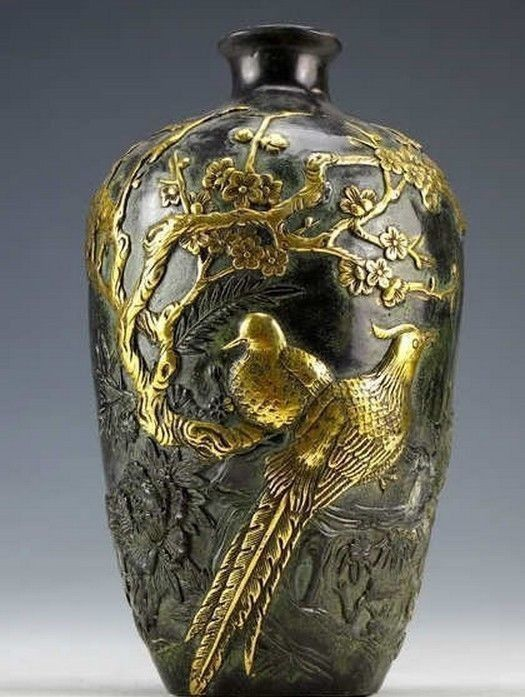Chinese Vintage Collection Bronze Statues Gold-plating Flower Bird Vase 20cm
