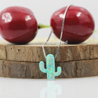 1pc Lot 11 13mm Light Green Cactus Opal Necklace 925 Sterling Silver Cactus Opal Necklace Pendant