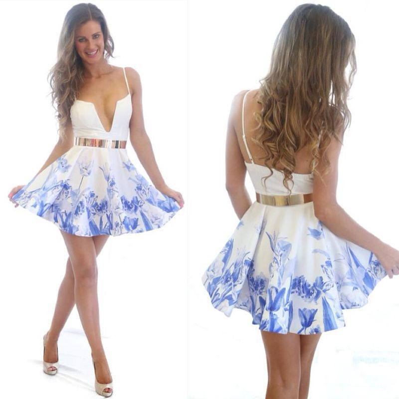 6632b153b56 Free Shipping Most Popular Blue Printed Fashion Dress Latest Women Brand Pastel  Print Skater Dress 3F2337