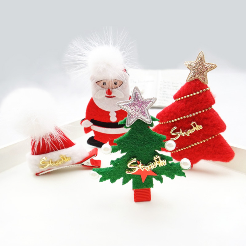 Christmas Hair Clips.Us 14 26 15 Off Fashion Christmas Tree Clips Hat Santa Alligator Hair Clips Wholesale Christmas Hair Accessories For Children In Hair Accessories