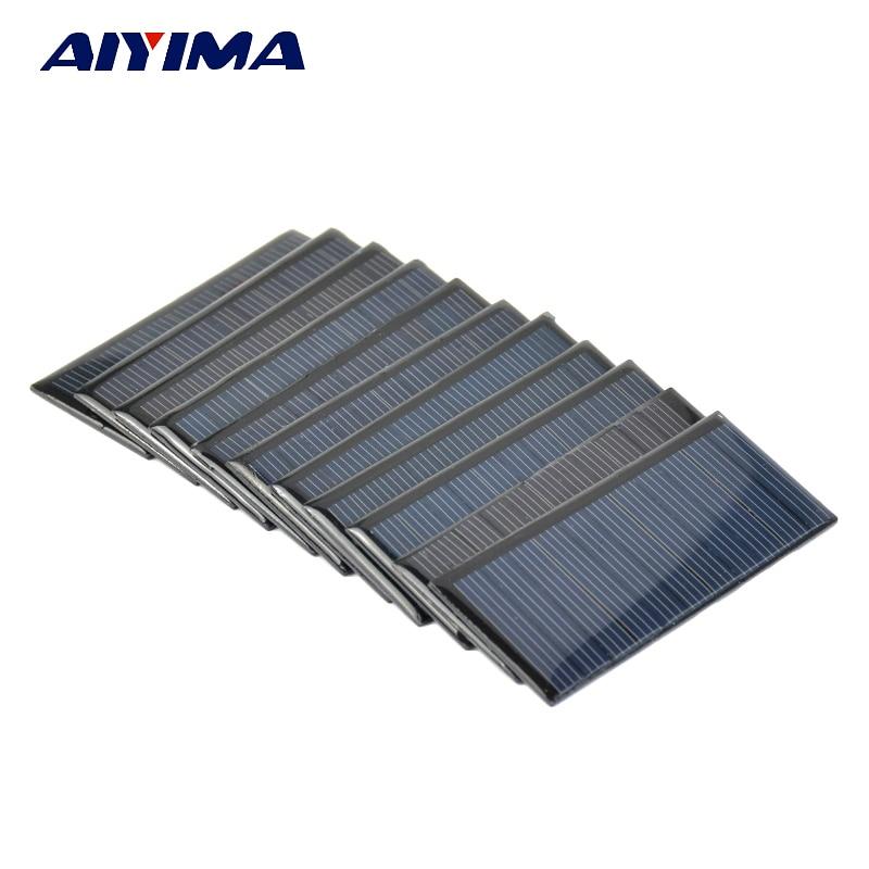 Aiyima 10pcs Poly Solar Panels 5.5V 65MA Polycrystalline Solar cells For DIY Solar Battery Charger Sunpower System 80*35MM